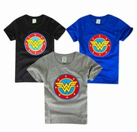 Cheap Children cartoon Wonder Woman Boy embroidered short-sleeved T-shirt summer kids activewear tops clothes B001