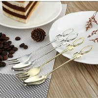 Wholesale 2pcs Korean Stainless Steel Diamond Bow Tableware Set Spoon and Fork Cutlery Set for Dinner Tea Time Kitchen Tools