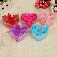 Wholesale Box Colorful Heart Shaped Rose Soap Flower Handmake Flower Petals Decor For Romantic Bath Gift Wedding Favor