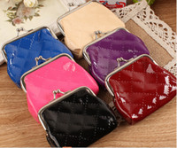 high quality leather handbags - NEW High quality patent leather coin purse canvas key holder wallet hasp small gifts bag clutch handbag
