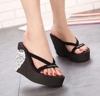 Wholesale Sandals Flip Flops Ultra high heels beach slippers summer wedges platform sandals flip flops women shoes
