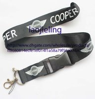 Wholesale NEW car logo MINI Cooper Key Chain Lanyard Cell Phone Ipod Strap Neck Pass Logo Keychain ID