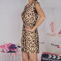 Wholesale Sexy Leopard Dress New Casual Sleeveless Ruffles Vestidos Dresses Femininos Women Clothing Women Sundress Leopard