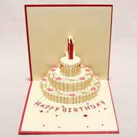 al por mayor velas de cumpleaños barcos-Hecho a mano Kirigami Origami 3D Pop UP Tarjetas de cumpleaños con la vela Diseño Para la fiesta de cumpleaños del envío (conjunto de 10)