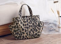 Wholesale 2015 New Leopard print canvas coated waterproof bag Lunch bag picnic bag tote bags
