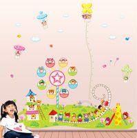 amusement park train - 3pcs Cartoon Super Train Amusement Park Wall Stickers Kids Room Nursery Home Decor Mural Decal Height Stickers AY303