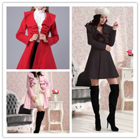 Wholesale 6 color New Women Girls Ladies Fashion Woolen Long Coats Lovely Falbala Autumn Winter Overcoat Topcoat sent a beautifu scarfl