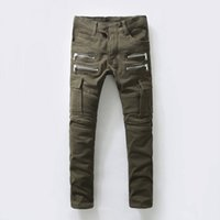 Wholesale new Designer men fashion stylish jeans Slim motorcycle balmain biker jeans army green Military overalls pants plus size men jogger