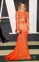 fair white - 2015 the th Oscar Vanity Fair Orange Evening Dresses Jewel Neck Long Sleeve Mermaid Floor Length Lace Formal Prom Gowns