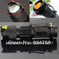 Wholesale New Adjustable Focus Zoomable LM CREE Q5 LED Flashlight Torch Lamp Lantern