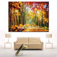 alley pictures - Palette Knife Oil Painting Wander in Forest Alley Landscape Picture Printed on Canvas for Home Office Hotel Wall Art Decor