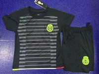 Soccer season - DHL Season Kids Size kid boys Mexico Home White and Away Black Soccer Jersey and Short Uniform for America Cup