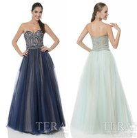 terani - Arabic Prom Dresses Terani New Sweetheart Neck Rhinestones Beads Tulle Long Floor Length Party Evening Gowns Sexy Back Plus Size Wear
