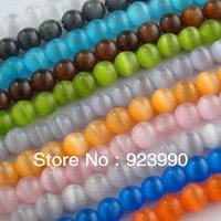 Wholesale Cat Eye Gemstone Round Ball Loose Spacer Beads Charms mm Red White Mixed For Jewelry Making Craft DIY