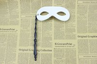 Wholesale Mardi Gras masks Fancy masquerade ball mask Festive party supplies Handmade half face black white colors plastic on a stick