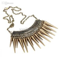 antique rivet shorts - Punk Retro Women Collar Rivet Spike Tassel Pendant Short Necklace Bronze Alloy Antique Vintage Chain