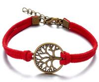 achat en gros de bracelet d'arbre à l'infini-Infinity wish tree croix Bracelet multicolores en cuir tressé Bracelet pour hommes