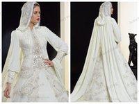 Wholesale 2015 Saudi Arabia Muslim Wedding Dress High Collar Long Sleeves Pearls Beading Draped Chiffon Luxury With Cloak Wedding Dresses Bridal Gowns