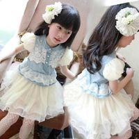china direct - China Buying Factory Direct Summer New Style Kids Boys Girls Children Denim Skirt in Denim Dress Lace Stitching