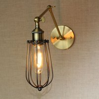 antique wall fixture - Antique industrial Small Cages Iron Wall Lamp American Country Style Wall Lights E27 Edison Bulbs Fixture S L two Colors