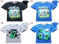 jumpers - 2015 minecraft Creeper Boys t shirts Kids Summer Short Sleeve Cartoon tees Tops Jumper Pullover Tshirt Shirt Kids wear Boys Clothing