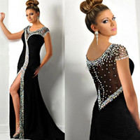 Wholesale Formal Evening Dresses With Mermaid Scoop Crystal Side Slit Prom Party Gowns See Though Backless