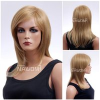 Cheap goden blonde hair wigs natural looking premium hair wig for women Synthetic fiber of 100% Kanekalon 1pc Lot Free Shipping 0729ZL349A-24B