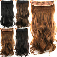 Wholesale 1PC inch cm g Long Wavy Hair kanekalon Clip in Hair Extensions for Black Women Colors Multi Color