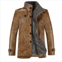 Wholesale Mens Winter Fur Stand Collar Thickening Wool Windbreak Top Leather Jackets Men s Lether Coat Jaqueta De Couro M XL