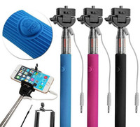 Wholesale Wired Selfie Stick Handheld Monopod Built in Shutter Extendable Mount Holder For iPhone Samsung Smartphone Any Phones Camera PA