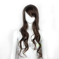 Wholesale New Sexy Fashion Womens Girls Light Brown Wavy Curly Long Hair Human Full Wigs NMFFM