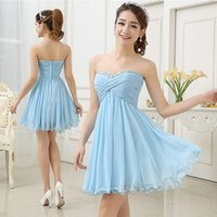 Wholesale 2015 Summer Beach Wedding Short Light Sky Blue Chiffon Cheap Bridesmaid Dresses Made In China Sequin Ruffles Homecoming Party Gowns ZC