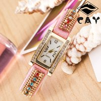 Casual beautiful digital watches - Hot selling Newest Girl Retro Rectangle diamond weave bracelet watch fashion beautiful woman Diamond watches