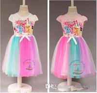 acrylic dance floor - 2015 new color girl gauze dress my little pony dresses candy color Rainbow belt net yarn dress kid party tutu dance dress TOPB3420