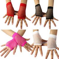 diva - Fishnet Gloves Lace Gloves Unisex Adult Short Diva Short Fishnet Fingerless Wrist Length Gloves Mitts Costume Party Accessories