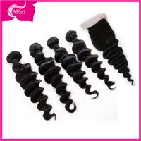Cheap Loose Wave Lace Frontal Closure With Bundles 3 Bundles With Closure Loose Brazilian Virgin Hair Weave Bundles Silk Base Closure