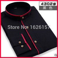 bargain - Bargain Price Mens Designer Clothes Long Sleeve Shirt Men Patch Color Round Collar Men Wedding Shirts Formal Shirts