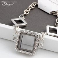 Cheap Wholesale-Free Shipping 2015 Floating Locket Charms Bracelet Bangles For Women Men Magnetic Glass Living Memory Locket Bracelet Jewelry