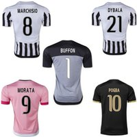 Wholesale 2016 Juventus Soccer Jerseys Juv football shirt Top Thailand Quality MARCHISIO MORATA POGBA MANDZUKIC DYBALA Jersey