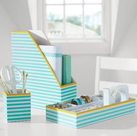Wholesale Printed Desk Accessories Pool Stripe With Yellow Trim