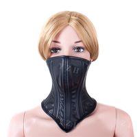 bondage neck corset - Adult Female PU Soft Leather Sex Bondage Neck Corset Collar Womens Fetish Lockable Submission Half Face Muzzle