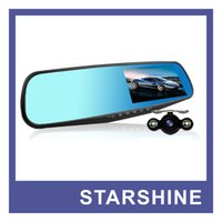 night view lens - New Arrival quot LCD Mirror Car DVR Dual lens Car Camera Recorder Full HD P Rear View Camera P Dash Cam