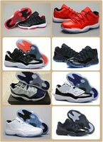 Wholesale Whole sale XI LOW Bred Retro Basketball Shoes Black Red Sports Boots s Low Concords Basketball Boots Men Athletics Discount Sneakers