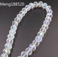 Wholesale White AB Faceted Glass Crystal Rondelle Beads Spacer Beads mm mm mm10mm