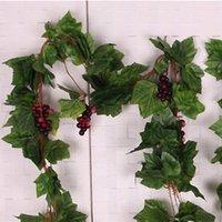 Wedding artificial leaves - 22 leaves Artificial Grape Vine Simulation Green Plants Silk Cloth Leaf For Decoration M Length Plant Vines Leaves