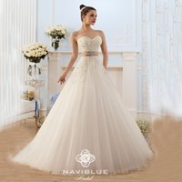beautiful wedding gown brand - Naviblue Brand Elegant Bridal Gowns Sexy Lace up Tulle Beautiful Cheap Custom Sash Long Vestido De Noiva Wedding Dresses