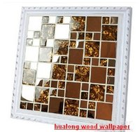 Wholesale High end shells wall stickers metallic gold foil Tiles Mosaic TV setting wall Mosaic home decor Building Supplies kitchen bathroom living