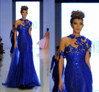 beading usa - New Design Formal Evening Dresses Sparkly Sequined Lace High Neck Floor Length Chiffon Mermaid Miss USA Pageant Party Gowns Prom Dress