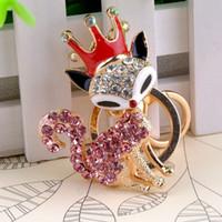 Wholesale Hot Sale Cool Crystal Charming Fox Shaped Keychain Rhinestone Metal Key Chains Ring Holder Purse Charm Jewelry Accessory M MPJ534 M1