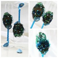 glass decor - Peacock Feathers Wine Glasses Champagne Flutes Crystal Wine Glasses Beach Shell Wedding Decors Handmade Lead free Wedding Decorations